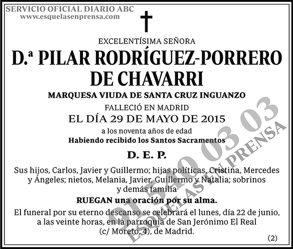 Pilar Rodríguez-Porrero de Chavarri